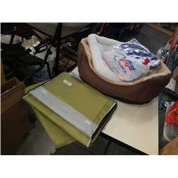 Lot of pet beds, foldable dog crate, blankets and more