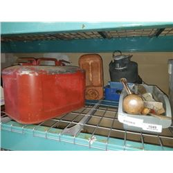 3 TRAYS OF TOOLS, METAL BOAT GAS CAN, BLOWER FAN