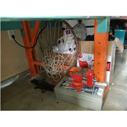 SMALL BENCH VICE, BASKETBALL HOOP, TIRE CHAINS AND SCISSOR JACK