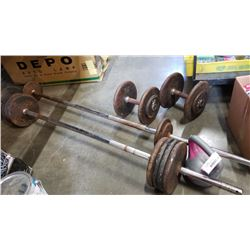 2 BARBELLS AND DUMBELLS WITH WEIGHTS - OVER 120 POUNDS OF WEIGHTS