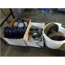 Two boxes and bucket of Dolly Wheels casters and more