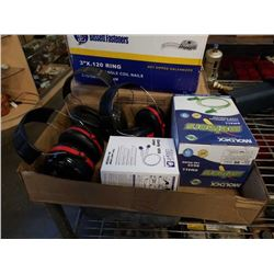Box of earplugs and hearing protectors