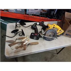 BOX OF TOOLS, CANDLE STANDS, CIRCULAR SAW