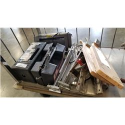 2 CASES TIRE CHAINS, PAPER SHREDDER, DRILL POWERED SAWS AND SKI BOOT HOLDERS, FISH CLEANING TRAYS