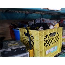 2 CRATES AND BIN OF SHOP HARDWARE, TOOLS, PLANT NUTRIENTS