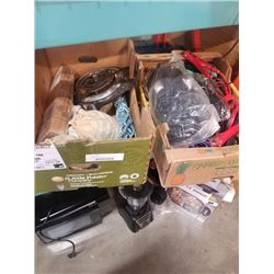 2 trays of bungee straps, jumper cables and strapping clips