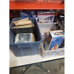 2 BOXES VINTAGE MAGAZINES, COLLECTABLES, METAL VASE