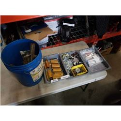 PAILS AND 3 TRAYS OF HARDWARE, TROWELS, ELECTRICAL