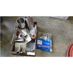 TRAY OF STAINLESS POLE MOUNTING BRACKETS AND PARTS