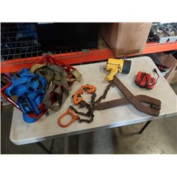 Tray of tie down straps and chain lifts