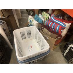 2 BOXES THROW PILLOWS AND LOT OF HAMPERS