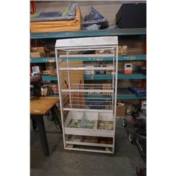 ROLLING WIRE RACK ADJUSTABLE SHELF - APPROX 7 FOOT TALL