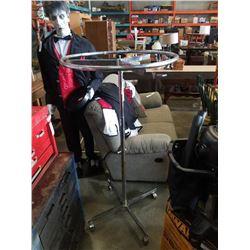 Retail clothing rack on wheels