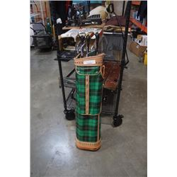Plaid golf bag with wilson right handed golf clubs