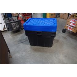 5 MASTERCRAFT STORAGE TOTES - 102L 29 X 20 X 15 INCHES WITH LIDS