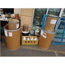 Lot of cardboard barrels and metal containers