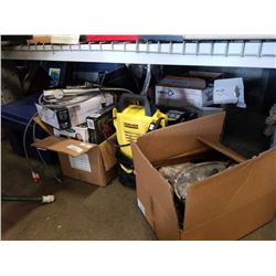 LOT OF KITCHEN APPLIANCES, FLOOR LAMP, LIGHTING, KARCHER POWER WASHER