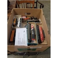 BOX OF HO SCALE TRAINS, REACK, CARS, 2 GOOD RUNNING ENGINES, SMALL POWER SUPPLY