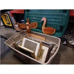 TOTE OF PICTURE FRAMES AND WOOD FIGURES
