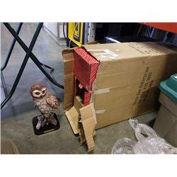 BOX OF 6 NEW OWL STATUES