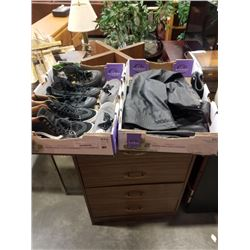 TRAY OF VANS AND CONVERSE SHOES AND LEATHER CHAPS - JOKER CONVERSE