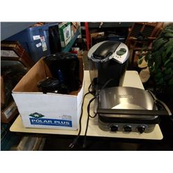 Keurig coffe maker with stainless griddler and box of kettles