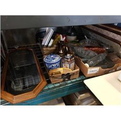 4 TRAY SO FESTATE GOODS, GLASSWARE, COFFEE GRINDER, COLLECTABLES MAGAZINES