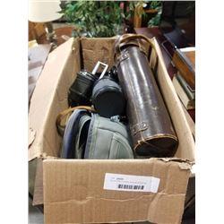 Box of nikon, minolta cameras and lenses