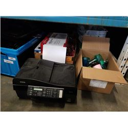 Three boxes of estate goods and printer