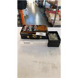 INLAID JEWELLERY BOX W/ RHINESTONE CONTENTS AND 2 TRAYS OF RHINESTONE JEWELLERY