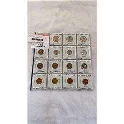 15 CANADIAN CENTENNIAL COINS 1967 .800 SILVER