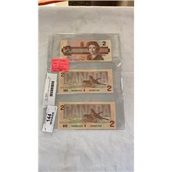 LAST ISSUE OF 1986 CANADIAN 2 DOLLAR BILLS IN SEQUENCE