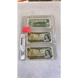 LAST ISSUE OF 1973 CANADIAN 1 DOLLAR BILLS IN SEQUENCE