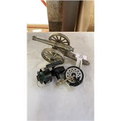 SHAKESPEARE AND MITCHELL FISHING REELS AND METAL CANNON