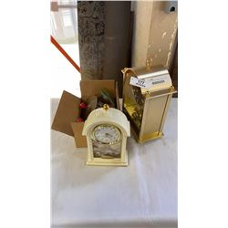 2 mantle clocks with cymbals, jewelry and bells