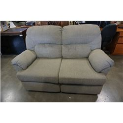 GREEN UPHOLSTERED DOUBLE RECLINING LOVESEAT