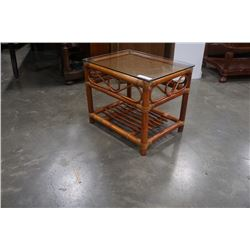 Glasstop bamboo side table