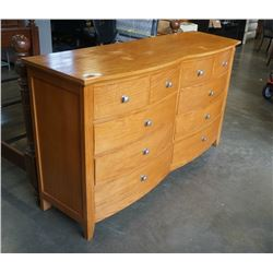 10 DRAWER OAK DOUBLE BOW FRONT DRESSER