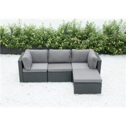 BRAND NEW RATTAN OUTDOOR 4 PIECE MODULAR SECTIONAL SOFA W/ DARK GREY CUSHIONS - RETAIL $1299 POWDER