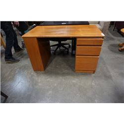 Teak desk with drawers and side shelves