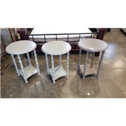 3 ROUND PAINTED ENDTABLES