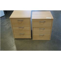 PAIR OF 3 DRAWER MAPLE FINISH ENDTABLES