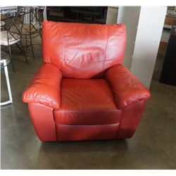 RED LEATHER RECLINING ARMCHAIR