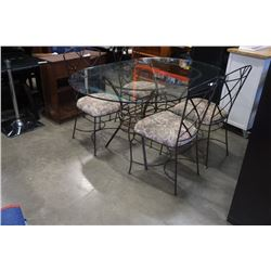 METAL BASE GLASSTOP TABLE WITH 4 METAL FRAME CHAIR