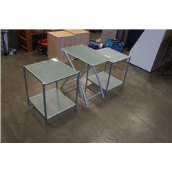 2 METAL BASE GLASSTOP ENDTABLES