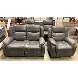 BRAND NEW 3 PIECE GREY AIR LEATHER RECLINING SOFA SET - RETAIL $2699 ROCKER RECLINER, LOVE SEAT, AND