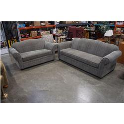 GREEN ROLLED ARM SOFA AND LOVESEAT