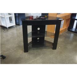 BLACK AND GLASS 3 TIER TV STAND