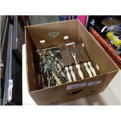 Box of silver plate cutlery and more