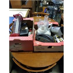 BOX AND TRAY OF ELECTRONICS, KITCHEN ITEMS
